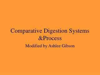 Comparative Digestion Systems &Process