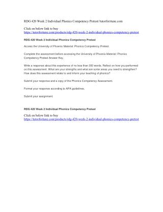 RDG 420 Week 2 Individual Phonics Competency Pretest//tutorforrtune.com