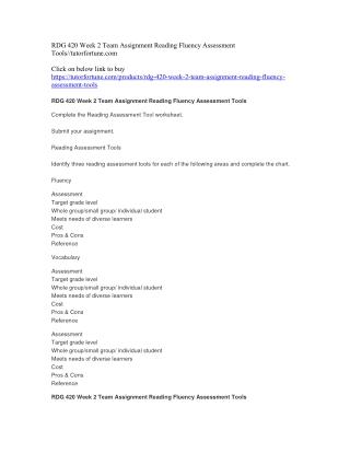 RDG 420 Week 2 Team Assignment Reading Fluency Assessment Tools//tutorfortune.com