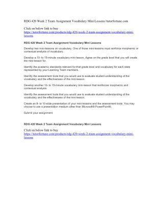 RDG 420 Week 2 Team Assignment Vocabulary Mini Lessons//tutorfortune.com