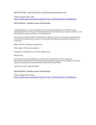 RDG 420 Week 1 Individual Letter of Introduction//tutorfortune.com