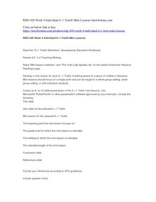 RDG 420 Week 4 Individual 6 1 Trait® Mini Lessons//tutorfortune.com