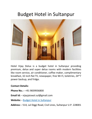 Budget Hotel in Sultanpur