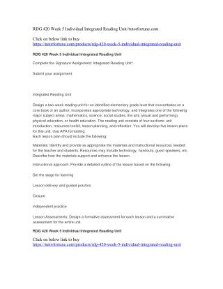 RDG 420 Week 5 Individual Integrated Reading Unit//tutorfortune.com