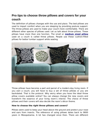 Pro tips to choose throw pillows and covers for your couch