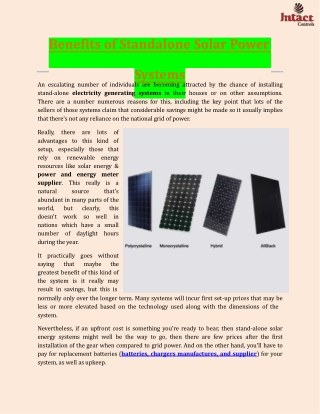 Benefits of Standalone Solar Power Systems