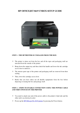HP Officejet 8619 Unbox Setup Guide