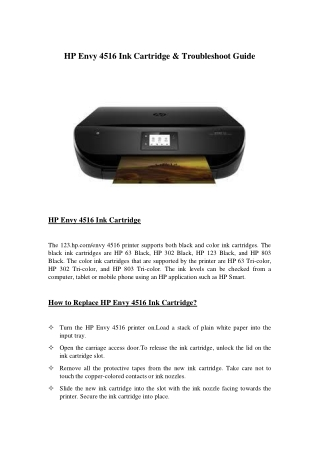 HP Envy 4516 Ink Cartridge & Troubleshoot Guide