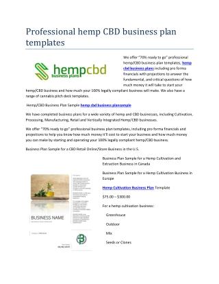 hemp cultivation business plan
