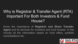 Registrar and Transfer Agent Important For Investors and Fund House