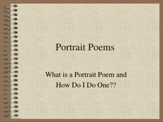 Portrait Poems