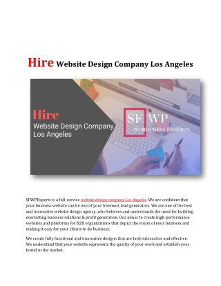 Hire Website Design Company Los Angeles