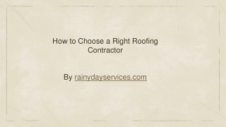 How to Choose a Right Roofing Contractor