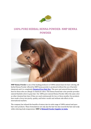 100% PURE HERBAL HENNA POWDER