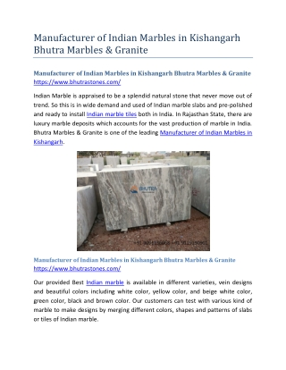 Manufacturer of Indian Marbles in Kishangarh Bhutra Marbles & Granite