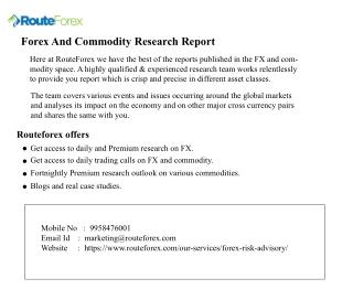 Fx Commodity Trading Research Report Company in Delhi - Route Forex