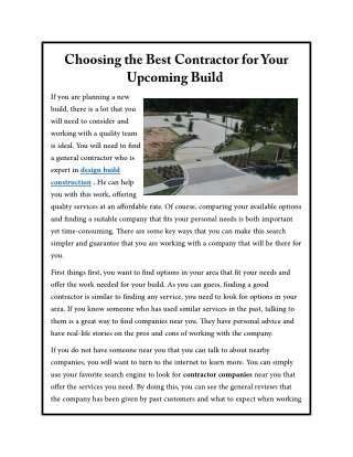 Choosing the Best Contractor for Your Upcoming Build
