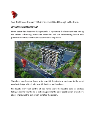 Top Real Estate Industry 3D Architectural Walkthrough in the India.