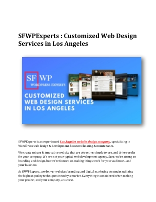 SFWPExperts : Customized Web Design Services in Los Angeles