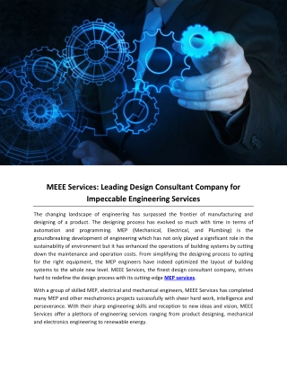 MEEE Services: Leading Design Consultant Company for Impeccable Engineering Services