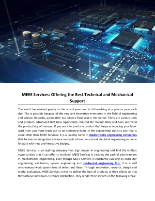 MEEE Services: Offering the Best Technical and Mechanical Support