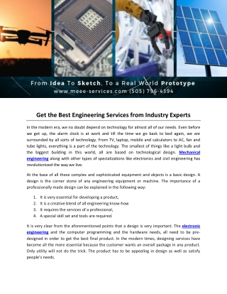 Get the Best Engineering Services from Industry Experts