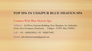 Top spa in Udaipur Blue Heaven Spa