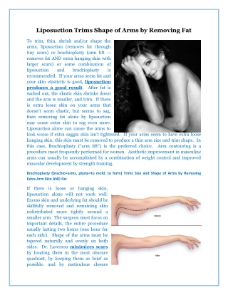 Liposuction Trims Shape of Arms by Removing Fat