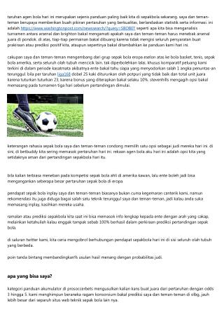 Agen Bola Online Terjamin Dan Juga Segar