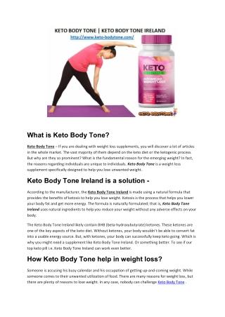 Keto Body Tone | Keto Body Tone Ireland