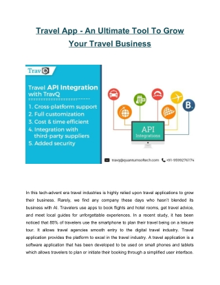 Travel App - An Ultimate Tool To Grow Your Travel Business