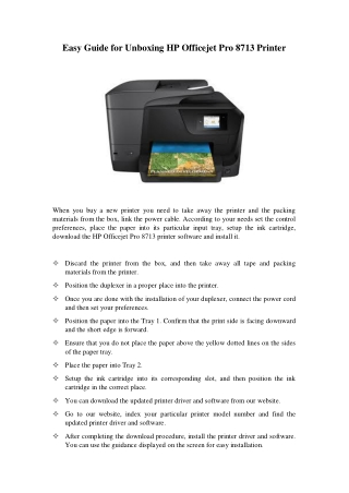 Easy Guide For Unboxing Hp Officejet Pro 8713 Printer