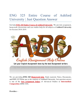 ENG 325 Entire Course of Ashford University