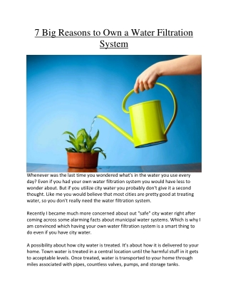 7 Big Reasons to Own a Water Filtration System