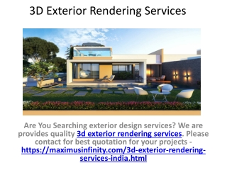 3D Architectural Exterior Rendering Company India