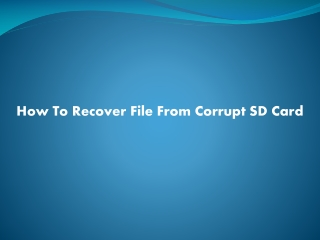 How To Recover File From Corrupt SD Card
