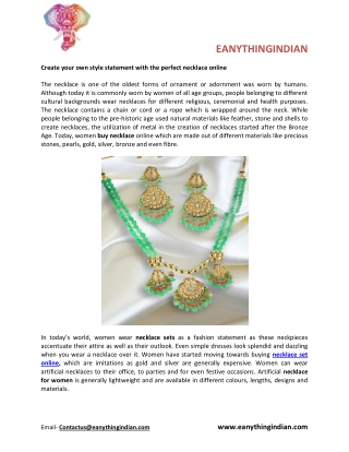 Create Your Own Style Statement With the Perfect Necklace Online