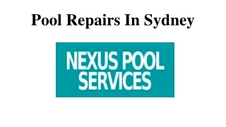 Pool Repairs In Sydney
