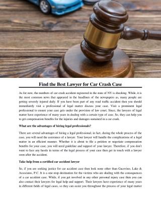 Find the Best Lawyer for Car Crash Case