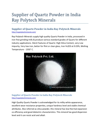 Supplier of Quartz Powder in India Ray Polytech Minerals