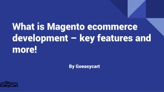What is Magento ecommerce development – key features and more!