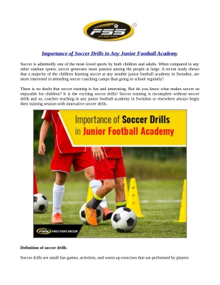 Importance of Soccer Drills in Any Junior Football Academy