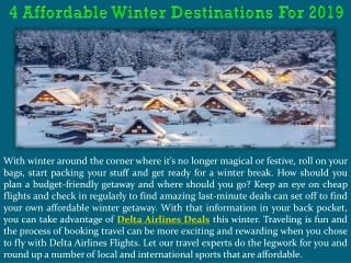 4 Affordable Winter Destinations For 2019