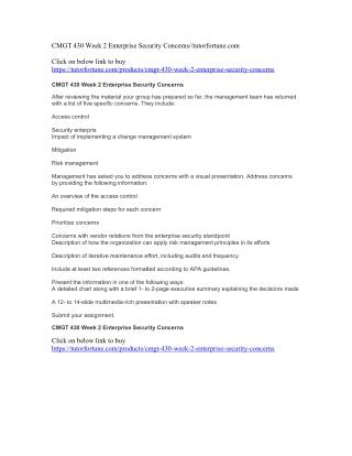 CMGT 430 Week 2 Enterprise Security Concerns//tutorfortune.com