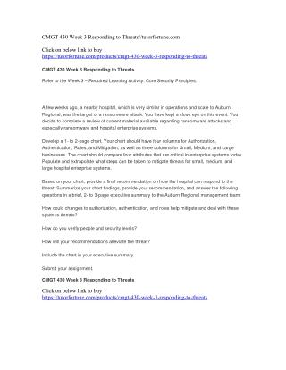 CMGT 430 Week 3 Responding to Threats//tutorfortune.com