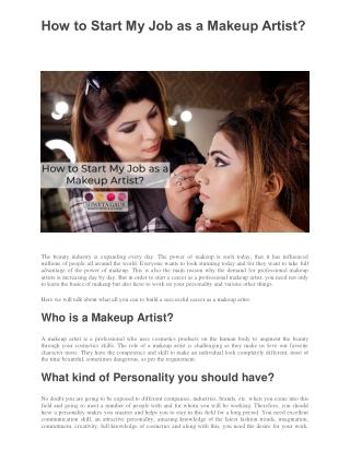 How to Start My Job as a Makeup Artist