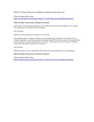 RDG 351 Week 2 Discussion Childrens Literature//tutorfortune.com