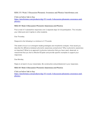 RDG 351 Week 3 Discussion Phonemic Awareness and Phonics//tutorfortune.com