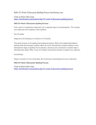 RDG 351 Week 4 Discussion Spelling Process//tutorfortune.com
