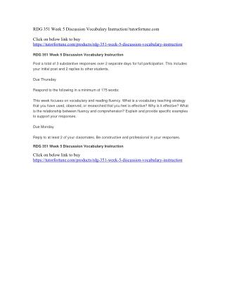 RDG 351 Week 5 Discussion Vocabulary Instruction//tutorfortune.com